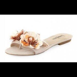 Neiman Marcus Saturn Paillette Flower Sandal Slide